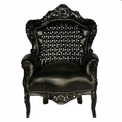 Casa Padrino Baroque Armchair 'King' Black / Black Leather Look with Bling Bling Rhinestones