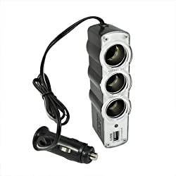 Unique Gadget - Three Way Car Cigarette Lighter Socket Splitter W 500Ma Dc 5V Usb Port