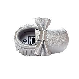 Weixinbuy Baby Boys Girls Soft Soled Tassel Bowknots Crib Shoes PU Moccasins