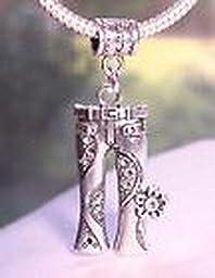 Pugs & Pandoras Jeans Floral Flower Hippie Pants 1960\'s Dangle Bead for European Charm Bracelets PP21203