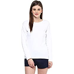 Hypernation White Round Neck Cotton T-shirt For Women