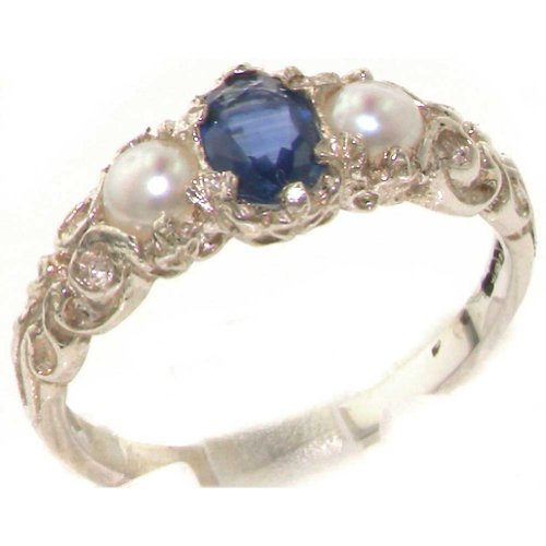 Ladies Solid 925 Sterling Silver Natural Sapphire & Cultured Pearl Victorian Trilogy Ring