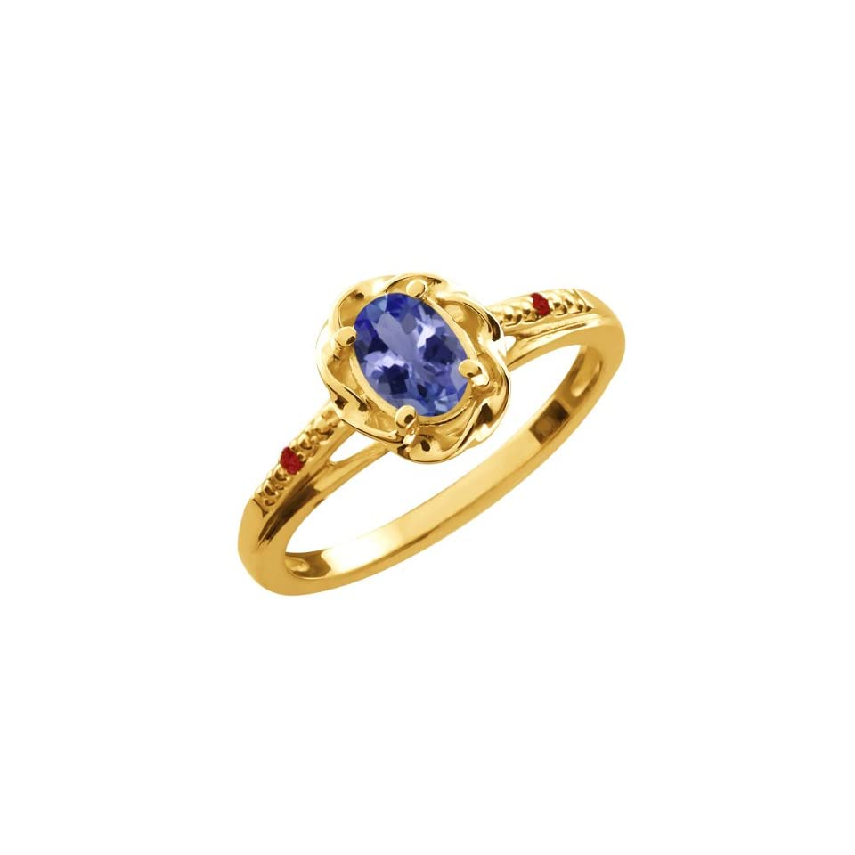 0.47 Ct Oval Blue Tanzanite Red Garnet 10K Yellow Gold Ring