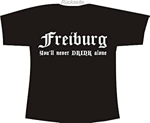 Freiburg - You'll never drink alone; Polo T-Shirt schwarz