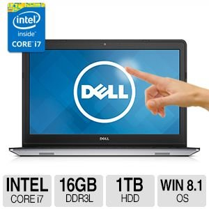 "Dell Inspiron 15 5000 series i5547 15.6"" Full HD IPS Touchscreen Laptop: 1920x1080, i7-4510U, 16GB Memory, 1TB Hard Drive,Wireless-AC,Bluetooth 4.0,Backlit Keyboard, Win 8.1 with free upgrade to Windows 10"