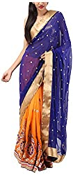 Aura by tejal Women's Georgette Saree with Blouse Piece (A-45, Peach And Royle Blue)