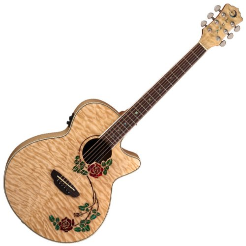 new luna flora rose quilted maple folk acoustic electric cutaway guitar used guitars for sale. Black Bedroom Furniture Sets. Home Design Ideas