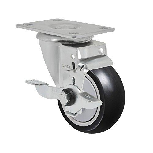 "Schioppa L12 Series, Gla 312 Npe Sl, 3 X 1-1/4"" Swivel Caster With Wheel Lock Brake, Non-Marking Polypropylene Precision Ball Bearing Wheel, 175 Lbs, Plate 3-3/4 X 2-1/2"" (Bolt Holes 3 X 1-3/4"") front-269225"