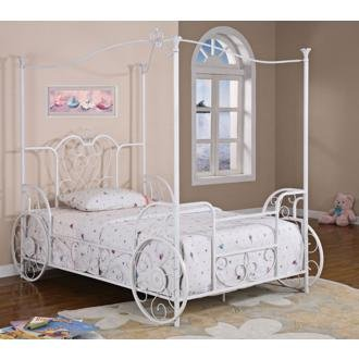 Princess Emily White Carriage Canopy Bed (Full)