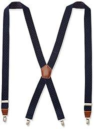 Dockers Men\'s 1.25 Inch Dobby X-Back Poly Stretch Suspender, Navy, One Size