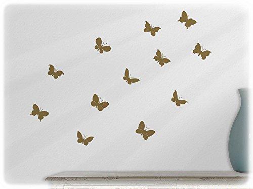wandbild wandsticker 12 s e schmetterlinge set 3 gold91. Black Bedroom Furniture Sets. Home Design Ideas