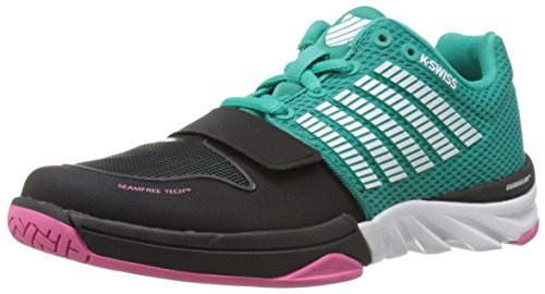 K-Swiss Women's X Court Cross Trainer Shoe, Dynasty Green/Shocking Pink, 8.5 M US