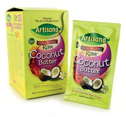 100% Organic Raw Coconut Butter, Whole Coconut Flesh Puree, 10 Packs, by Artisana