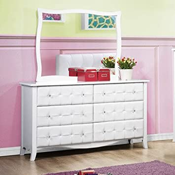 Homelegance Sparkle 6 Drawer Dresser w/ Mirror in White