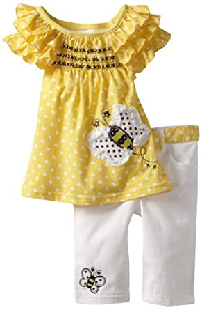 Young Hearts Girls 2-6X 2 Piece Polka Dot Twill Capri Set, Yellow, 4T