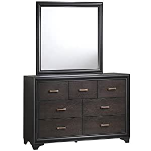 modern contemporary dresser and mirror brown wood. Black Bedroom Furniture Sets. Home Design Ideas