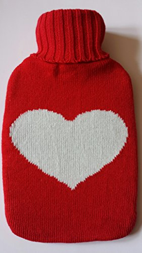 Warm Tradition Big Heart Knit Covered Hot Water Bottle - Bottle Made In Germany