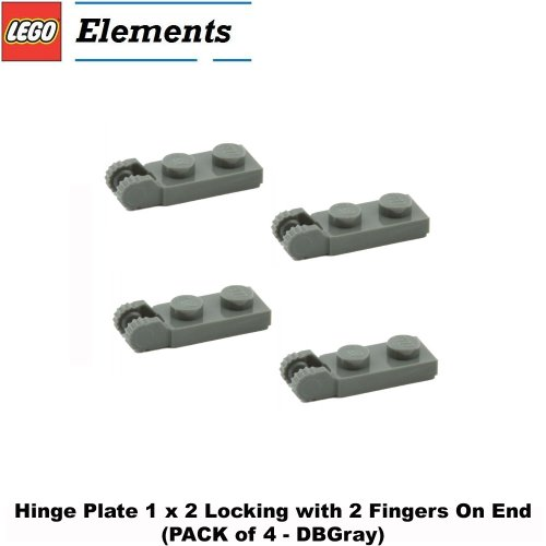 Lego Parts: Hinge Plate 1 x 2 Locking with 2 Fingers On End (PACK of 4 - DBGray) - 1