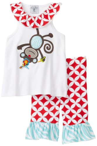 Mud Pie Baby-Girls Newborn Safari Monkey Tunic And Capri Legging Set, Multi, 9-12 Months front-566761
