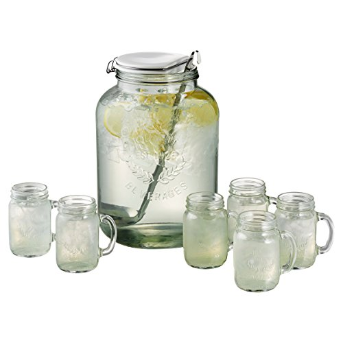 Oasis 9 Piece Carafe Set (Heritage Hill Glass Jar 2 Gallon compare prices)