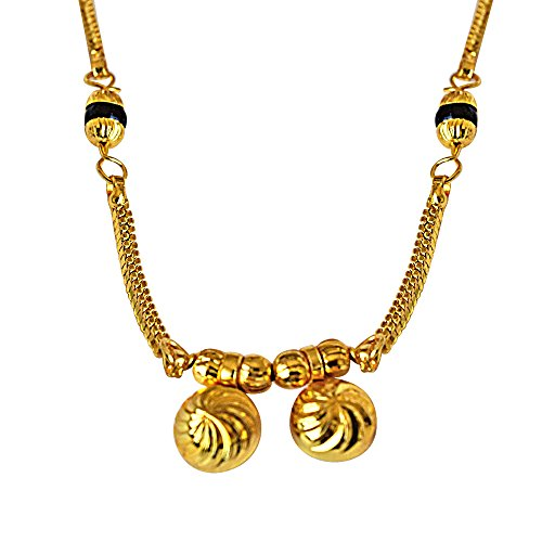 Suratdiamond Gold Plated Vati & Chain Mangalsutra Necklace With Black Enamel For Women (Mng19) available at Amazon for Rs.111
