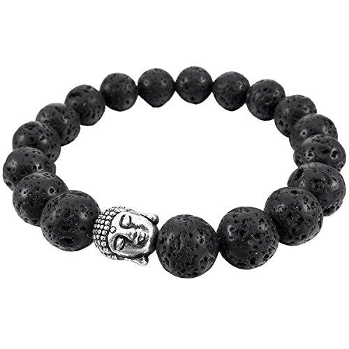 Modisches-Energie-Armband-10-mm-Unisex-Metall-Legierung-Armband-mit-Buddha-Motiv-Elegant-Schwarz-Silber-Armreif