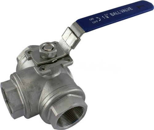 """Wog1000 3-Way 304 Stainless Steel Ball Valve L-Type 1-1/4"""" Npt Fpt Ss304 Sus304"""