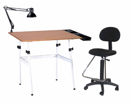 Offex Berkeley 4-pc Combo White w/ Cherry wood Top Tray Lamp and Drafting / Drawing Table With Height Seating Chair