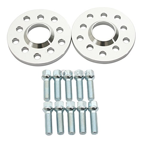 (2) 12Mm 5X112 5X100 Hubcentric Wheel Spacers For Audi Vw - 40Mm Silver Ball Seat 14X1.5 Lug Bolts