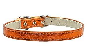 Mirage Pet Products Metallic 3/8-Inch Wide Plain Collars, 12-Inch, Metallic Orange