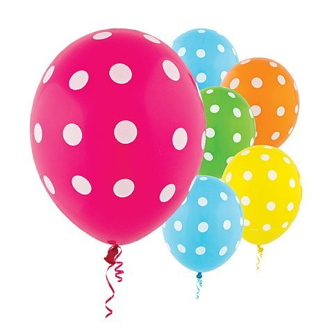 Latex Bright Polka Dots Balloons - 20Ct