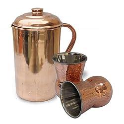 AsiaCraft Copper Pitcher Jug & 2 Mughlai Glass Set