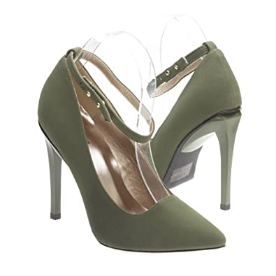Qupid Womens SOLO11 Closed Pointy Toe Ankle Strap Cut Out Classic Stiletto High Heel Pump Shoes, Olive Green Nubuck, 6 B (M) US