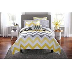 Popular 8-Piece Mainstays Yellow Grey Chevron Bed in a Bag Bedding Comforter Set, King