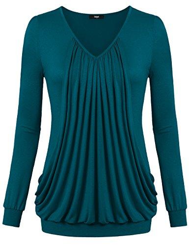 Laksmi Women's V Neck Pleated Long Sleeve Blouse Tops, (M Aqua)