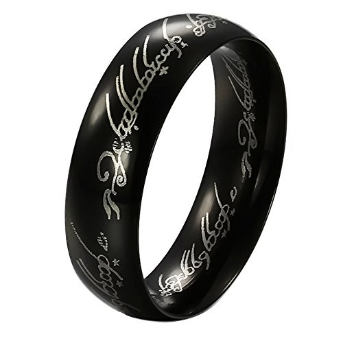 Olsine 6mm Titanium Stainless Steel Fashion Finger Rings Mordor Lord Style Smooth Black Lord-ring King's Rings (Lord Of Rings Rings)