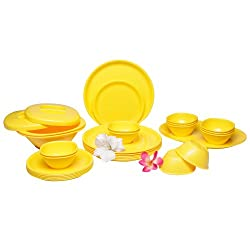 Incrizma Polypropylene Microwave Safe Break Resistant Dinner Set, 32 Pieces, Round, Mango