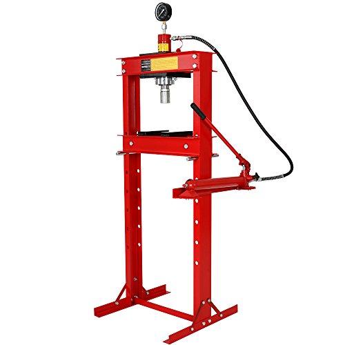Werkstattpresse-20t-inkl-Hydraulikpumpe-2-Druckplatten-und-Manometer-Hydraulikpresse-hhenverstellbare-Lagerpresse