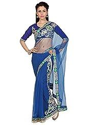 Designersareez Women Navy Blue Net Lehenga Style Saree With Unstitched Blouse (1579)