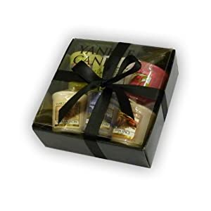 Yankee Candle Luxury 6 Sampler Pack - Gift Wrapped in Black Box, black tissue & Cuban Satin Ribbon by yankee candle/Bubblelush Divine Gifts