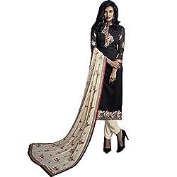 Vasu Saree Beautiful Resham Work Black Georgette Kameez With Pant Style Bottom-36002