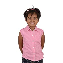 Snowflakes Girls' 4 - 5 Years Cotton Casual Shirt (Pink and White)
