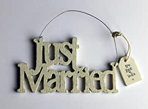 East of India Cream Wooden Just Married Hanging Sign - Wedding Gift