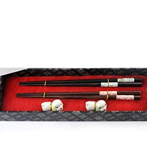 Natural raw lacquer production wooden chopsticks with ceramic chopsticks holder set of 2 pairs YMR6654