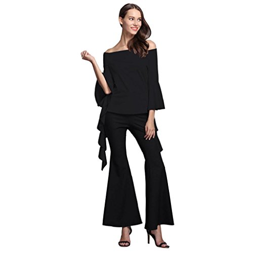 elevintm-women-new-fashion-casual-long-sleeved-round-neck-sexy-top-wide-leg-pants-suit-m-black-top