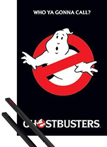 Poster + Sospensione : Ghostbusters Poster Stampa (91x61 cm) Logo E Coppia Di Barre Porta Poster Nere 1art1®