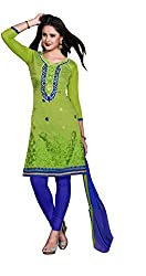 DnVeens Women's Chanderi Embroidered Unstiched Salwar Suit Dress Material