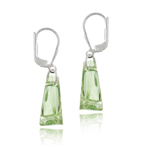 Sterling Silver Light Green Swarovski Elements Geometric Drop Leverback Earrings