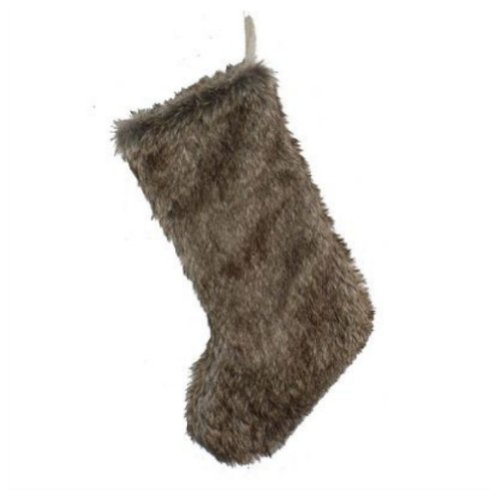 St Nicholas Square Brown Faux Fur Christmas Stocking Plush Holiday Decor Xmas