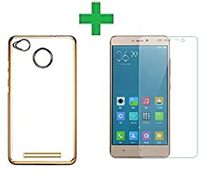 COMBO OFFER Azzil Gold Soft Silicon Back cover with Tempered Glass 2.5D Curved Edge 9H Hardness Screen Protector For Xiaomi Redmi 3s Prime (Gold Transparent)